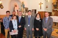 08-12-2015: Vicente Aroca y Marcial Marín, en la misa y procesión en honor a la Inmaculada Concepción, patrona de Alcadozo, junto al alcalde Ángel Alfaro.