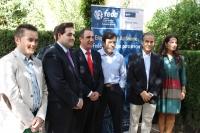 04-10-2013: El presidente del PP, Francisco Núñez, en la caseta ferial de FEDA de Hellín.
