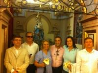 08-09-2012: Los diputados provinciales Abelardo Gálvez y Pablo Escobar, y la diputada nacional Maravillas Falcón, en la romería de Cortes, junto a la alcaldesa de Alcaraz, Lourdes Cano.