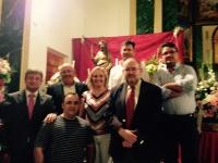 24-08-2015: Los parlamentarios Maravillas Falcón, Dimas Cuevas y Pablo Escobar, junto con el alcalde de Alcadozo, Angel Alfaro, en las fiestas de Pozuelo.