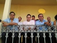 10-09-2012: El presidente del PP de Albacete, Francisco Núñez, recibió al presidente de la Diputación y del PP de Cuenca, Benjamín Prieto, en el abono de la Feria Taurina de Albacete.