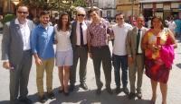 13-08-2014: En las fiestas de Villamalea, miembros de NNGG y diputados provinciales y regionales acompañaron al portavoz, Félix Diego Peñarrubia.
