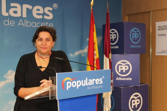 Cesárea Arnedo, en la sede provincial del PP de Albacete.