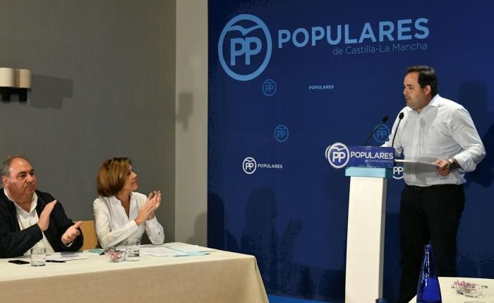 Francisco Núñez, durante su intervención de hoy en la reunión con Cospedal y resto de presidentes del PP de la región.