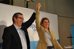 Vicente Aroca y María Dolores Cospedal, en el acto de presentación de la candidatura.