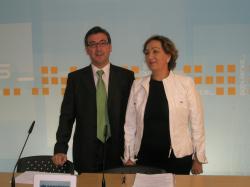 Marcial Marín y Marisa Soriano, en la sede del PP de Albacete.