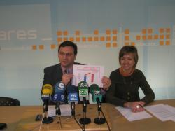José Luis Teruel e Inmaculada López, en la sede del PP de Albacete.