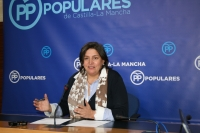 Arnedo, en rueda de prensa en las Cortes de Castilla-La Mancha.
