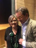 La presidenta de ASPAS, Mari Carmen Cebrián, junto con Antonio Martínez.