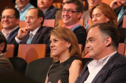Cospedal, durante la Convención que se celebra en Toledo, junto a González Pons y Marcial Marín.