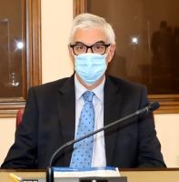 El concejal Alberto Reina durante el Pleno celebrado en el Ayuntamiento de Albacete