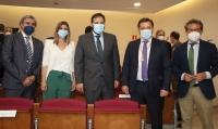 Manuel Serrano junto a Paco Núñez, Carolina Agudo, Ramón Rodríguez y Antonio Martínez en el Pleno de elección y toma de posesión del nuevo alcalde de Albacete