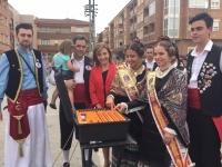 Marta García de la Calzada, en la mascletá de este lunes en las Fiestas de Almansa.