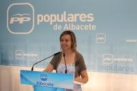 La diputada regional, Inma López, en la sede del PP.