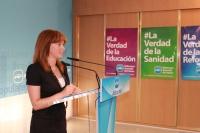 La diputada Irene Moreno en rueda de prensa.