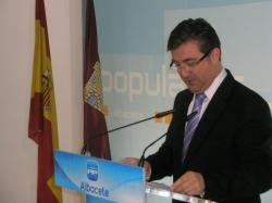 El presidente del PP de Albacete y diputado regional, Marcial Marín, en la sede provincial.