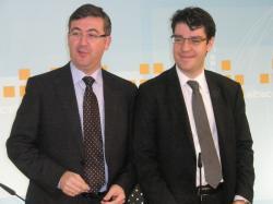 Marcial Marín y Álvaro Nadal, en la sede provincial del PP.