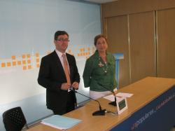 Marcial Marín y Marisa Soriano, en la sede del PP.
