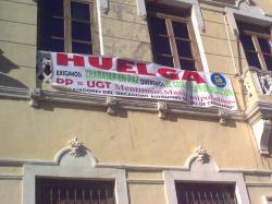 Pancarta en el Ayuntamiento de Villarrobledo.
