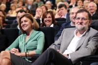 María Dolores Cospedal y Mariano Rajoy, en el Palacio de Congresos de Madrid.