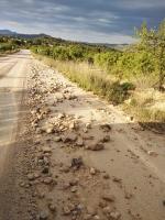 Tramo de carretera afectado por las tormentas del pasado día 2 de junio.