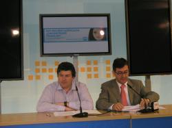 Antonio Serrano y Marcial Marín, en la sede del PP de Albacete.